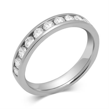 Platinum Round 0.50ct Diamond Fine Channel Ring thumbnail