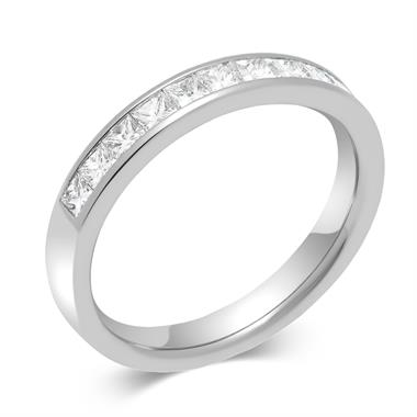 Platinum Princess Cut Diamond Half Eternity Ring 0.50ct thumbnail