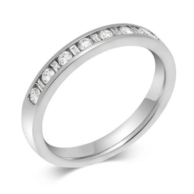 Platinum Alternating Baguette Cut Diamond Half Eternity Ring 0.25ct thumbnail