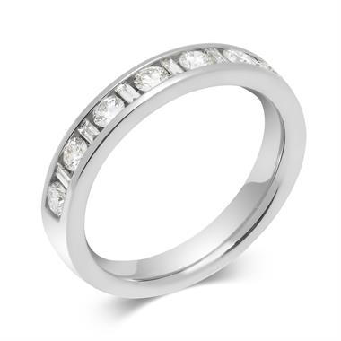 Platinum Alternating Baguette Cut Diamond Half Eternity Ring 0.50ct thumbnail