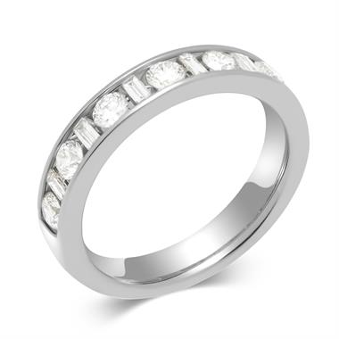 Platinum Alternating Baguette Cut Diamond Half Eternity Ring 0.75ct thumbnail