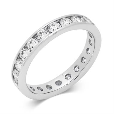 Platinum 1.50ct Full Diamond Channel Ring thumbnail