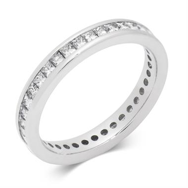 Platinum Princess Cut Diamond Full Eternity Ring 1.00ct thumbnail