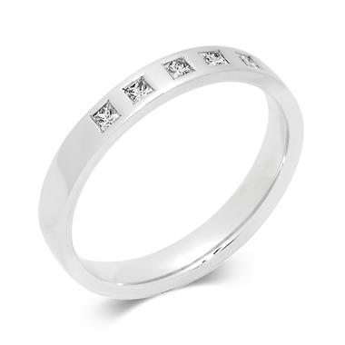 Platinum Modern Rubover Five Diamond Ring thumbnail