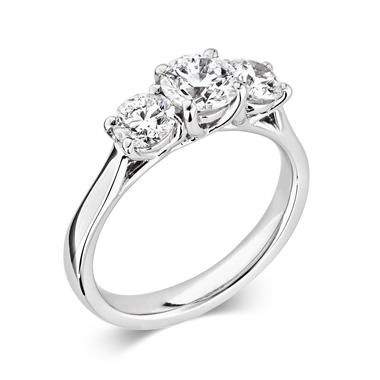 Platinum Round 0.80ct Diamond Three Stone Ring thumbnail