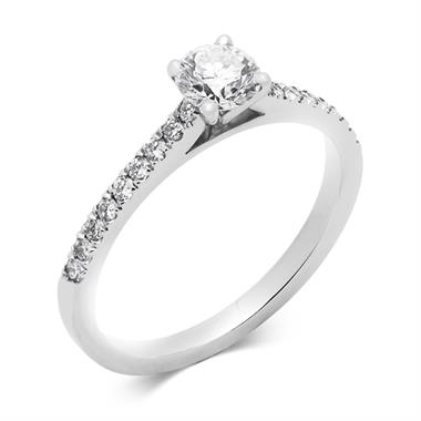 Platinum Classic Channel Shoulder 0.60ct Diamond Solitaire Ring thumbnail