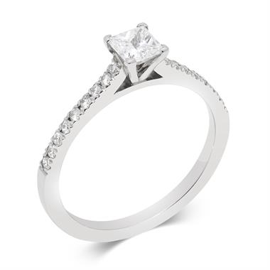 Platinum Contemporary Princess Cut Diamond Solitaire Ring thumbnail