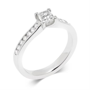 Platinum Princess Cut 0.58ct Diamond Solitaire Ring thumbnail