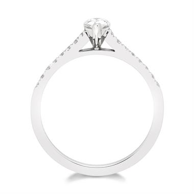 Platinum Contemporary Pear Shape Diamond Solitaire Ring thumbnail