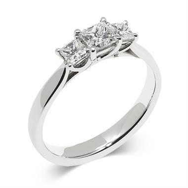 Platinum Modern Princess Cut 0.70ct Diamond Three Stone Ring thumbnail