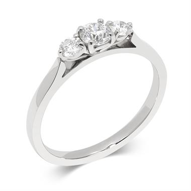 Platinum Classic 0.50ct Diamond Three Stone Ring thumbnail