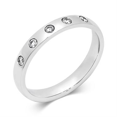 Platinum Rubover Diamond Wedding Ring thumbnail