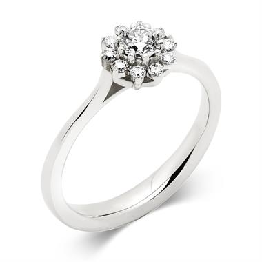 Platinum Diamond Cluster Engagement Ring 0.15ct thumbnail