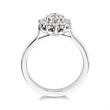 Platinum Elegant 0.85ct Flower Diamond Cluster Ring thumbnail