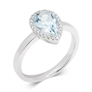 18ct White Gold Pear Shape Blue Topaz and Diamond Ring thumbnail