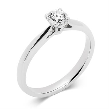 18ct White Gold Classic Design Diamond Solitaire Engagement Ring 0.40ct thumbnail