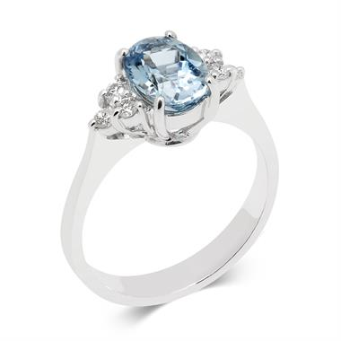 18ct White Gold Oval Aquamarine and Diamond Dress Ring thumbnail