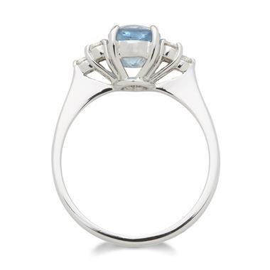 18ct White Gold Oval Aquamarine and Diamond Ring thumbnail