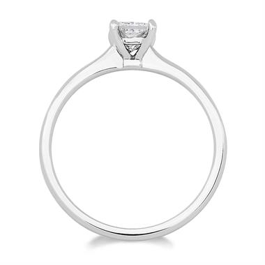 18ct White Gold Princess Cut Four Claw Diamond Solitaire Ring thumbnail