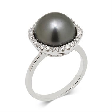 Rhea 18ct White Gold Tahitian Pearl and Diamond Ring thumbnail