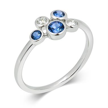 Alchemy 18ct White Gold Sapphire and 0.10ct Diamond Ring thumbnail