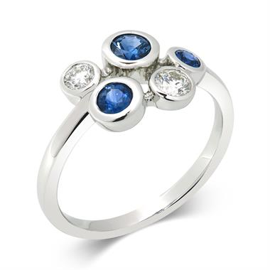 Alchemy 18ct White Gold Sapphire and 0.21ct Diamond Ring thumbnail