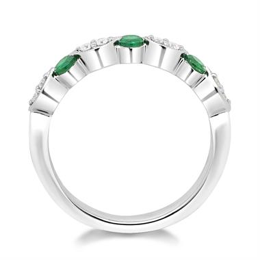 18ct White Gold Milgrain Detail Emerald and Diamond Half Eternity Ring thumbnail