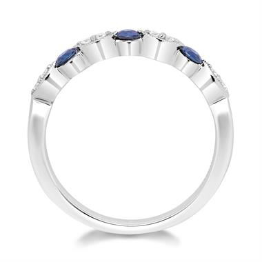 18ct White Gold Dainty Sapphire and Diamond Ring thumbnail