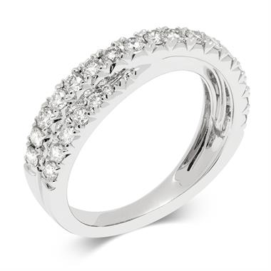 18ct White Gold Crossover Diamond Cocktail Ring thumbnail