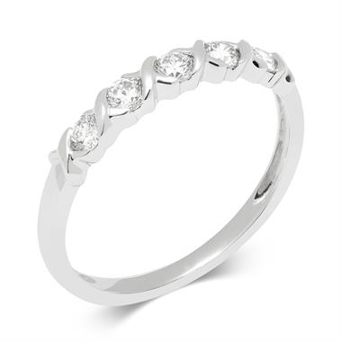 18ct White Gold Kiss Motifs Diamond Eternity Ring thumbnail