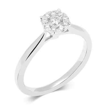 18ct White Gold Illusion Detail Diamond Cluster Engagement Ring 0.25ct thumbnail