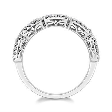 18ct White Gold Baguette Cut and Round Diamond Dress Ring 0.71ct thumbnail