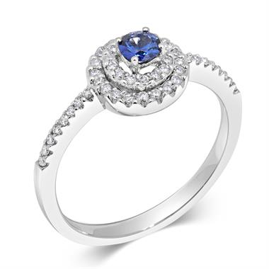 18ct White Gold Sapphire and Diamond Double Halo Ring thumbnail