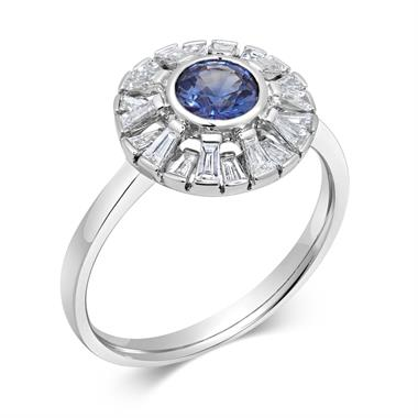 18ct White Gold Sapphire and Baguette Cut Diamond Dress Ring thumbnail