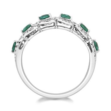 Oriana 18ct White Gold Emerald and Diamond Ring thumbnail