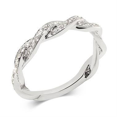 18ct White Gold Plaited Design Diamond Ring thumbnail