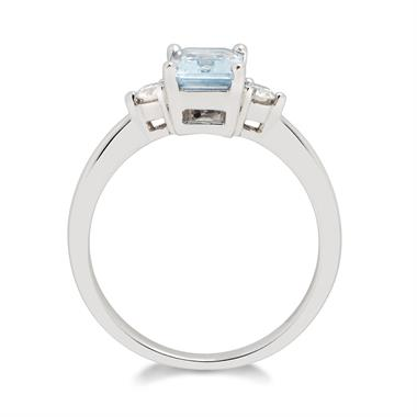 18ct White Gold Emerald Cut Aquamarine and Diamond Ring thumbnail