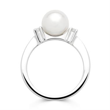 18ct White Gold Cultured Pearl and Diamond Three Stone Ring thumbnail
