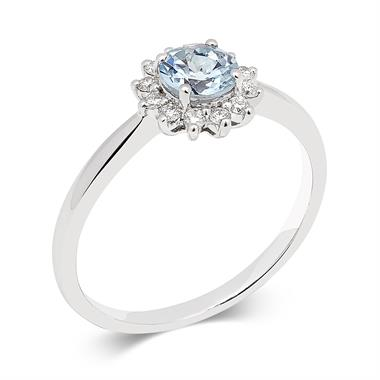 18ct White Gold Aquamarine and Diamond Cluster Dress Ring thumbnail