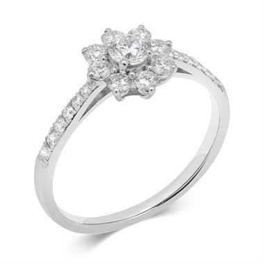 18ct White Gold Flower Design Diamond Cluster Ring thumbnail