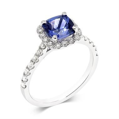 18ct White Gold Cushion Cut Tanzanite and Diamond Ring thumbnail