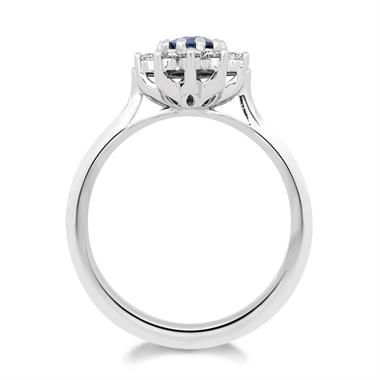 18ct White Gold Flower Design Sapphire and Diamond Ring thumbnail
