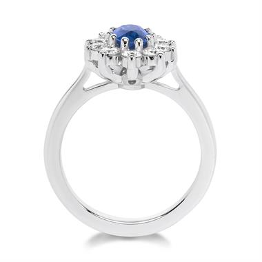 18ct White Gold Oval Sapphire and 0.80ct Diamond Cluster Ring thumbnail