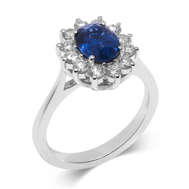18ct White Gold Oval Sapphire and 0.65ct Diamond Cluster Ring thumbnail