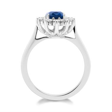 18ct White Gold Oval Sapphire and Diamond Cluster Engagement Ring thumbnail