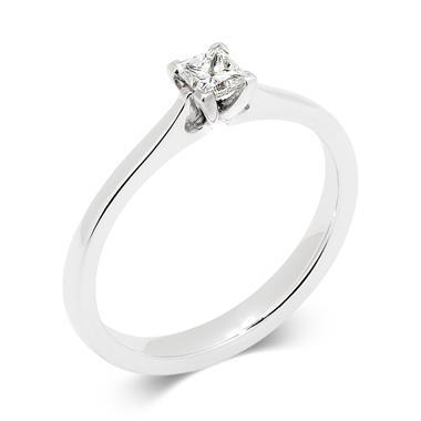 Palladium Princess Cut Diamond Solitaire Ring thumbnail