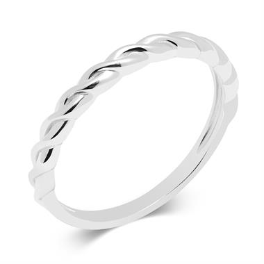 18ct White Gold Twist Design Stacking Dress Ring thumbnail