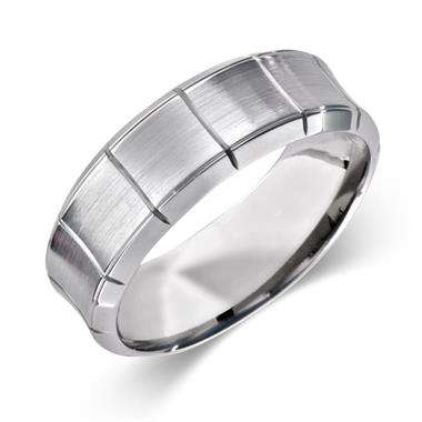 Platinum Contemporary Concave Wedding Ring thumbnail