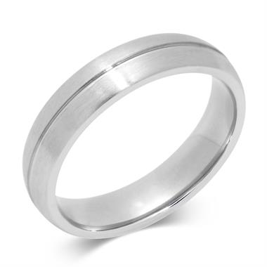 Platinum Central Groove Wedding Ring thumbnail