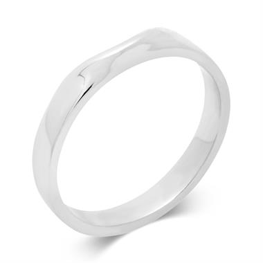 Platinum Shaped Curved Wedding Ring thumbnail